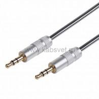 18-4091 AUX-кабель в гибкой металлической оплетке 3.5 мм 1 м Rexant