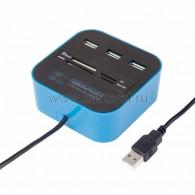 18-4121 Разветвитель USB на 3 порта+картридер (все в одном) черный Rexant