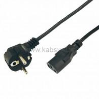 11-1122 Шнур сетевой, евровилка угловая - евроразъем С13, кабель 3x0,75 мм², длина 3 метра (PE пакет) Rexant