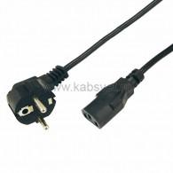 11-1132 Шнур сетевой, евровилка угловая - евроразъем С13, кабель 3x0,75 мм², длина 3 метра (PVC пакет) Rexant