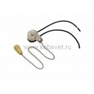 32-0103 Выключатель для настенного светильника c проводом и деревянным наконечником «Silver» Rexant