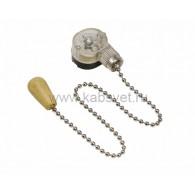 32-0105 Выключатель для настенного светильника c деревянным наконечником «Silver» Rexant