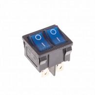 36-2161 Выключатель клавишный 250V 6А (6с) ON-OFF синий с подсветкой ДВОЙНОЙ Mini Rexant