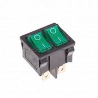 36-2163 Выключатель клавишный 250V 6А (6с) ON-OFF зеленый с подсветкой ДВОЙНОЙ Mini Rexant