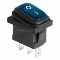 36-2176 Выключатель клавишный 250V 6А (3с) ON-OFF синий с подсветкой Mini ВЛАГОЗАЩИТА Rexant
