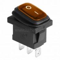 36-2177 Выключатель клавишный 250V 6А (3с) ON-OFF желтый с подсветкой Mini ВЛАГОЗАЩИТА Rexant