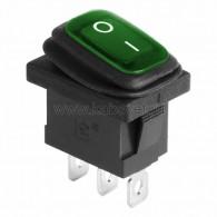 36-2178 Выключатель клавишный 250V 6А (3с) ON-OFF зеленый с подсветкой Mini ВЛАГОЗАЩИТА Rexant